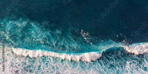 Blue clean wavy sea water.