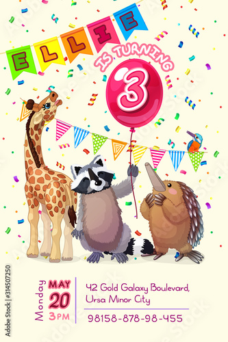 Photo vector animal birthday party