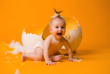Baby Girl In A Chicken Costume...