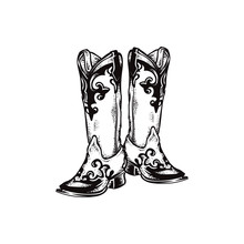 Cowboy Boots, Square Toe Boost, Round Toe Boots Vector Icon Illustration