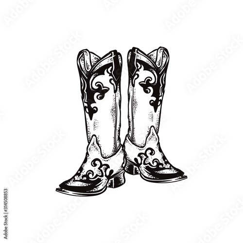 Valokuva cowboy boots, square toe boost, round toe boots vector icon illustration