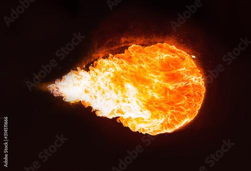 Photo Fireball (Flame) isolated on black background.