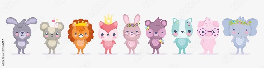 Fototapeta cute animals, little group rabbit lion pig elephant cat fox bear and mouse cartoon