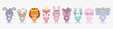 Fototapeta Fototapety na ścianę do pokoju dziecięcego - cute animals, little group rabbit lion pig elephant cat fox bear and mouse cartoon