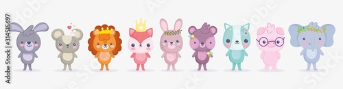 Fototapeta cute animals, little group rabbit lion pig elephant cat fox bear and mouse cartoon obraz