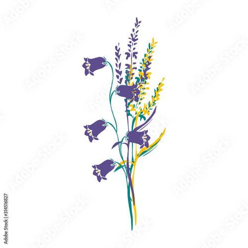 Photo A nice bouquet of Campanula or bellflower and meadow grass