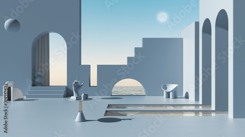 Canvas Print Imaginary fictional architecture, dreamlike empty space, design of exterior terr