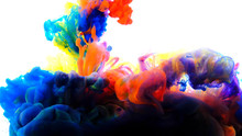 Color Paint Drops In Water , A...