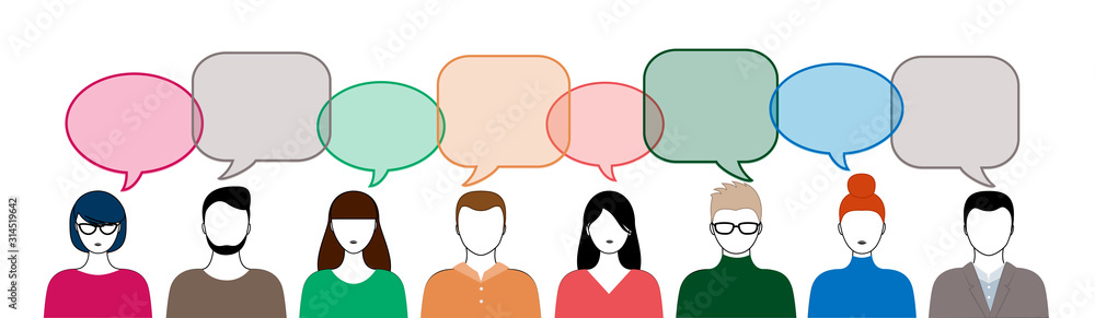 Fototapeta different color people and speech bubbles isoated on white background horizontal vector illustration