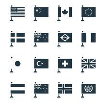 Minimal World Flag Icons, Modern Vector Elements Designed In Monotone Shapes. Flags Of Usa, America, China, Canada, France, Europe, European Union, United Kingdom, Japan, United Nations