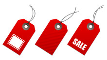 Set Of Red Price Tags, For Sale And Shopping Communication