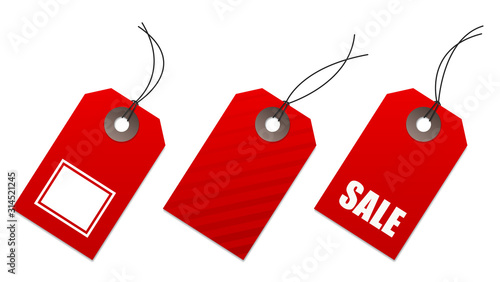 Fotomural Set of red price tags, for sale and shopping communication