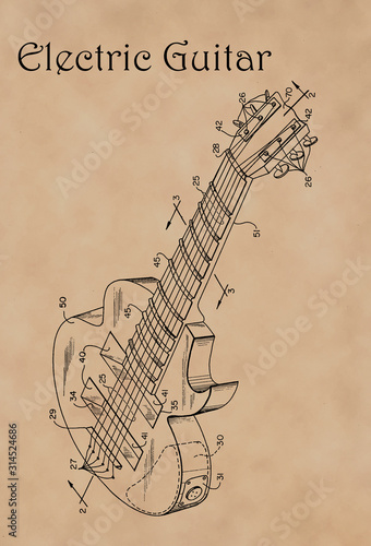 Photo Patent Diagram for Electric Guitar