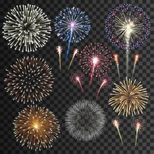 Big Set Of Isolated Fireworks Vector Illustration