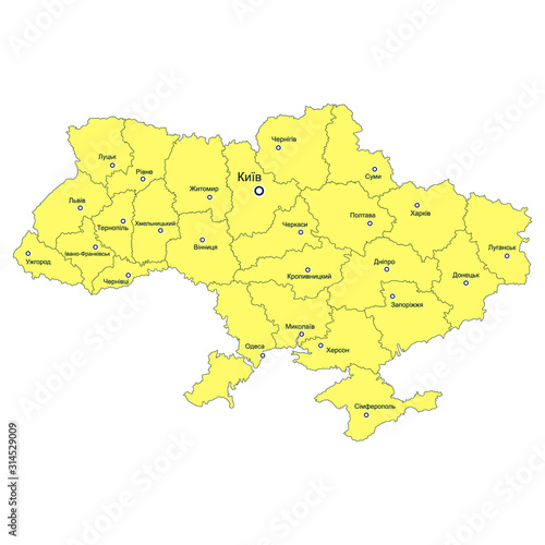 Obraz na plátně  vector map with Administrative divisions of Ukraine