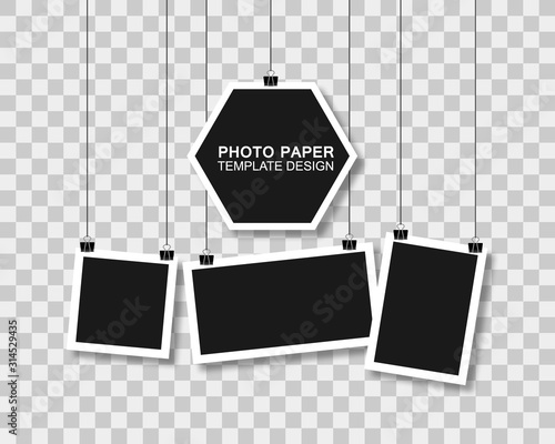 Obraz Hanging photo frames. Black empty place for your text or photo. Vertical and horizontal photo design  - fototapety do salonu