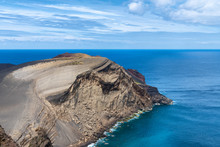 Volcanic Coastline Nature Geological Feature On Faial Island, The Azores
