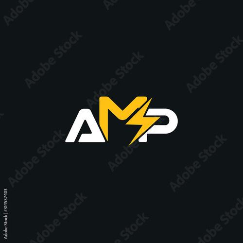 Photo Creative,Modern Letter AMP bolt logo design template vector eps  for use electri