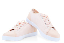 Women's Pink Canvas Canvas Comfortable Shoes On A White Background Sneakers