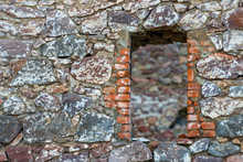 Ancient Castle Wall With Niche...