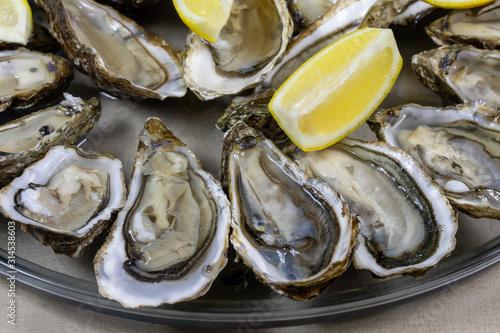 obraz lub plakat plateau d'huîtres sur une table