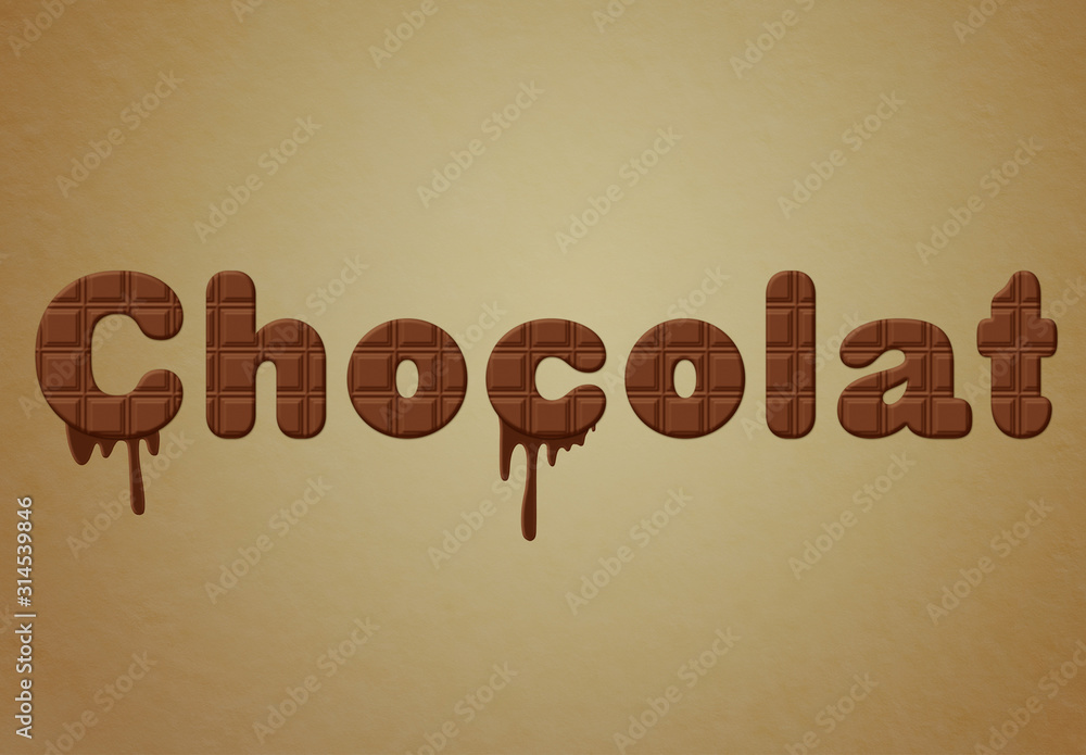 Fototapeta Chocolate Text Effect with Drip Elements