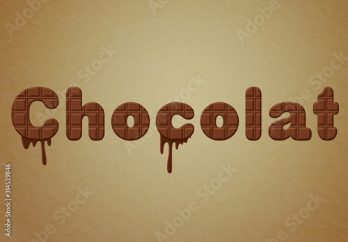 Fototapeta Chocolate Text Effect with Drip Elements obraz