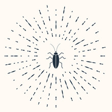 Grey Cockroach Icon Isolated On Beige Background. Abstract Circle Random Dots. Vector Illustration