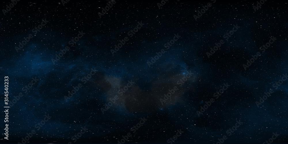 Fototapeta 360 degree space background with nebula and stars, equirectangular projection, environment map. HDRI spherical panorama.