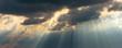 Leinwandbild Motiv sunrays in the sky with dramatic thunderclouds