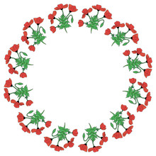 Round Frame With Colored Vertical Poppies, Poppy Bud And Leaf. Isolated Wreath Of Red Flowers On White Background For Your Design