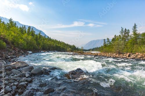 Fototapeta River Hoisey. Polar day on Putorana Plateau, Taimyr obraz