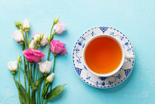 Cup Of Tea With Pink Flowers E...