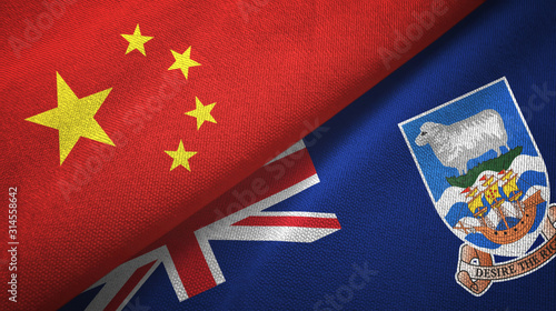 China and Falkland Islands two flags textile cloth, fabric texture Canvas Print