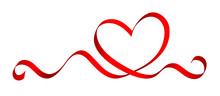Stylized Heart Made Of Red Ribbon, Vector Illustration.