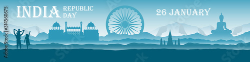 Fotografía  Republic Day India - panoramic landscape with national landmarks, mountains and  people