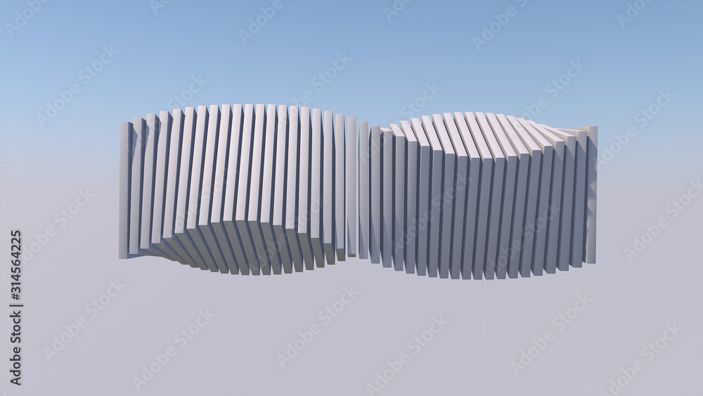 Fototapeta White twisted shape in the sky. Abstract illustration, 3d rendering.