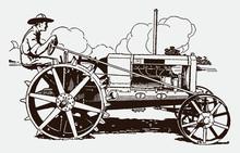 Historical Farmer Driving A Tr...