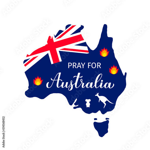 Pray for Australia vector illustration with Australian map in fire, silhouettes of kangaroo and koala isolated on white. Vector template for banner, typography poster, flyer, sticker, etc.