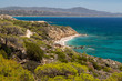 Scenic view at beach Akra Fourni nearby Monolithos at Rhodes island with green vegetation in the foreground and the aegean sea in the background