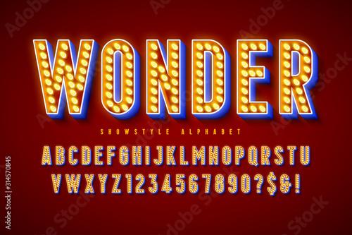 Obraz na plátne Retro cinema font design, cabaret, LED lamps letters