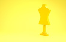 Yellow Mannequin Icon Isolated On Yellow Background. Tailor Dummy. Minimalism Concept. 3d Illustration 3D Render