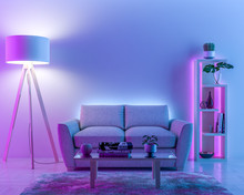 Interior Wall With Colored Lig...