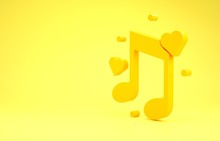 Yellow Music Note, Tone With Hearts Icon Isolated On Yellow Background. Minimalism Concept. 3d Illustration 3D Render