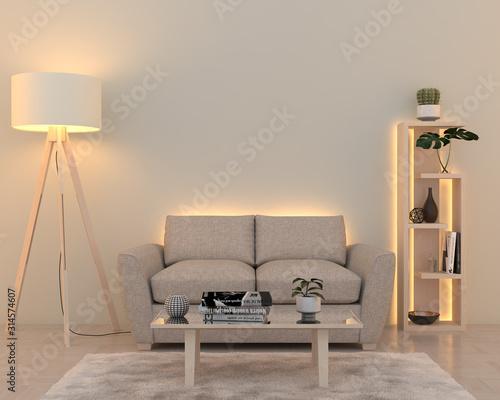 Fototapeta Interior wall with soft white led lights. 3D render obraz