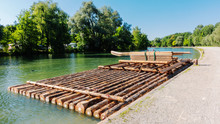 A Raft On The Isar River In Mu...