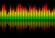 canvas print picture - Colorful retro audio equalizer bars with sound spectrum colors from green to red isolated on black. Music or decibels wave illustration.