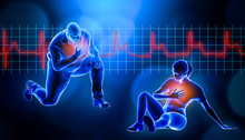 Obese Of Fat Man Kneeling While Suffering From A Heart Attack 3d Rendering Illustration. STEMI Heart Rate EKG In The Background And Copy Space. Medical And Healthcare, Myocardial Infarction Concept.