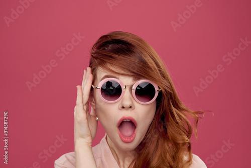 portrait of a girl in glasses Wallpaper Mural