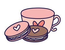 Happy Valentines Day Coffee Cup And Cookies Heart Love
